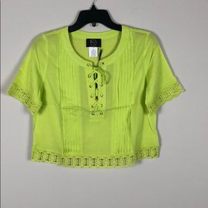Tops - Lace Up Short Sleeve Lace Hem Pleated Cropped Top